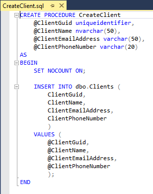 CreateClient stored procedure