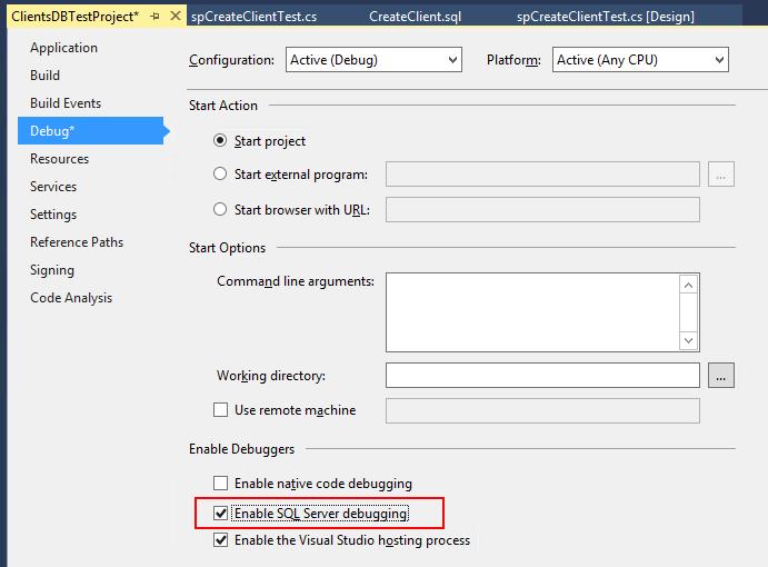 enable sql debugging