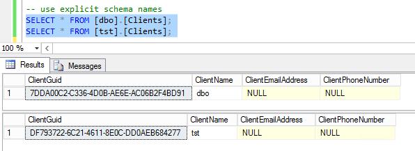 explicit schema names
