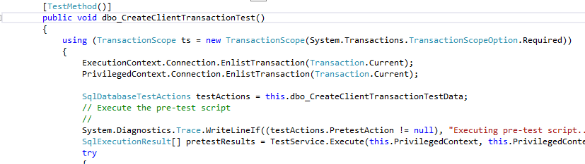 transaction test - one test