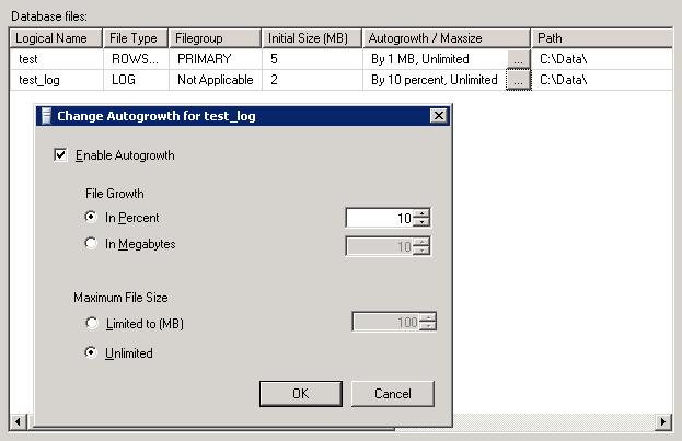 Unlimited log file size